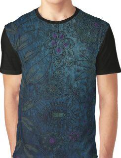 Vintage blue and mauve fabric Graphic T-Shirt