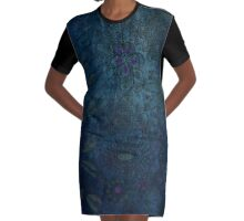 Vintage blue and mauve fabric Graphic T-Shirt Dress