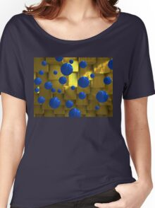 Geometric scene with blue balls Women's Relaxed Fit T-Shirt