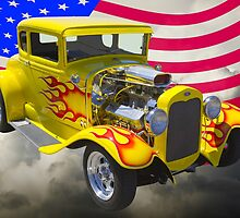 1930 Model A Hot Rod And American Flag by KWJphotoart