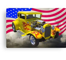 1930 Model A Hot Rod And American Flag Canvas Print