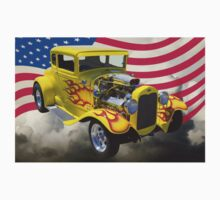1930 Model A Hot Rod And American Flag Kids Clothes