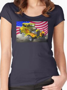 1930 Model A Hot Rod And American Flag Women's Fitted Scoop T-Shirt