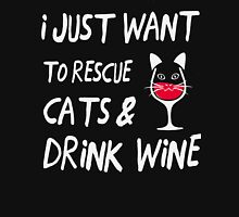 I Just Want To Rescue Cats Drink Wine TShirts & Hoodies Womens Fitted T-Shirt