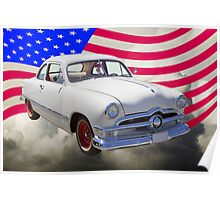 1950 Ford Custom Antique Car With American Flag Poster