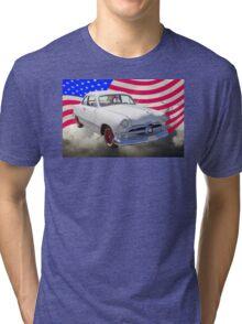 1950 Ford Custom Antique Car With American Flag Tri-blend T-Shirt