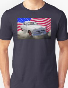 1950 Ford Custom Antique Car With American Flag Unisex T-Shirt