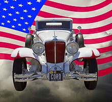 1929 Cord 6-29 Cabriolet Antique Car With American Flag by KWJphotoart