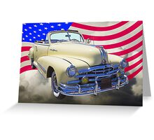 1948 Pontiac Silver Streak With American Flag Greeting Card