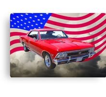 1966 Chevy Chevelle SS 396 and United States Flag Canvas Print