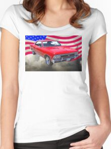 1966 Chevy Chevelle SS 396 and United States Flag Women's Fitted Scoop T-Shirt