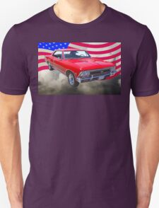 1966 Chevy Chevelle SS 396 and United States Flag Unisex T-Shirt