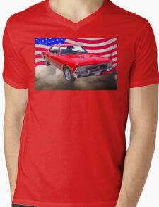 1966 Chevy Chevelle SS 396 and United States Flag Mens V-Neck T-Shirt