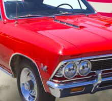 1966 Chevy Chevelle SS 396 and United States Flag Sticker