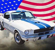 1965 GT350 Mustang Muscle Car With American Flag by KWJphotoart
