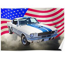 1965 GT350 Mustang Muscle Car With American Flag Poster