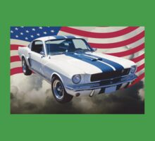 1965 GT350 Mustang Muscle Car With American Flag Kids Clothes