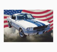 1965 GT350 Mustang Muscle Car With American Flag T-Shirt