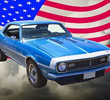 1968 Chevrolet Camaro 327 And United States Flag by KWJphotoart