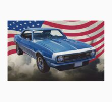 1968 Chevrolet Camaro 327 And United States Flag Kids Tee