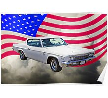 1966 Chevrolet Caprice 427 With United States Flag Poster