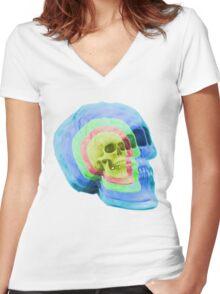 Psych Skull Women's Fitted V-Neck T-Shirt