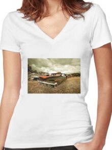 Abandoned 1959 Chevy Impala Women's Fitted V-Neck T-Shirt