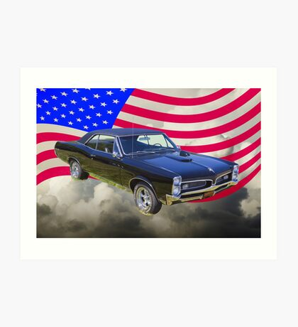 Black 1967 Pontiac GTO with American Flag Art Print