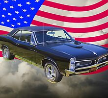 Black 1967 Pontiac GTO with American Flag by KWJphotoart