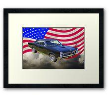 Black 1967 Pontiac GTO with American Flag Framed Print