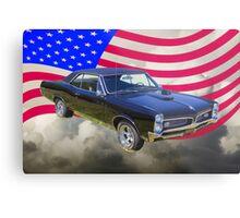 Black 1967 Pontiac GTO with American Flag Metal Print