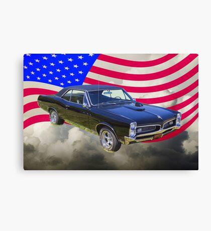 Black 1967 Pontiac GTO with American Flag Canvas Print