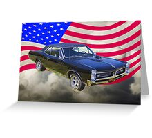 Black 1967 Pontiac GTO with American Flag Greeting Card