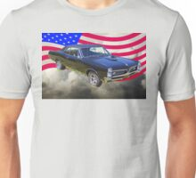 Black 1967 Pontiac GTO with American Flag Unisex T-Shirt