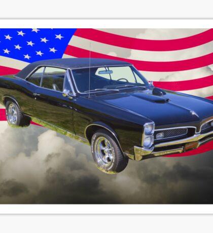 Black 1967 Pontiac GTO with American Flag Sticker