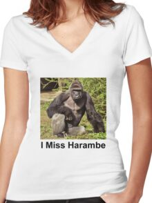 I Miss Harambe Women's Fitted V-Neck T-Shirt