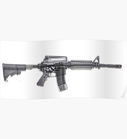 M4 (m16A2) Assault rifle under x-ray on white background  Poster