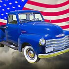1947 Chevrolet Thriftmaster Pickup And American Flag by KWJphotoart