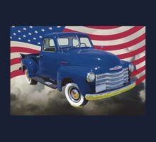 1947 Chevrolet Thriftmaster Pickup And American Flag Kids Clothes