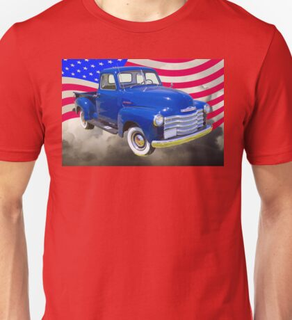 1947 Chevrolet Thriftmaster Pickup And American Flag Unisex T-Shirt