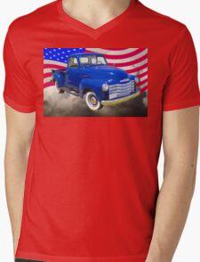 1947 Chevrolet Thriftmaster Pickup And American Flag Mens V-Neck T-Shirt