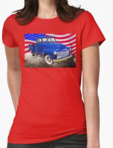 1947 Chevrolet Thriftmaster Pickup And American Flag Womens Fitted T-Shirt