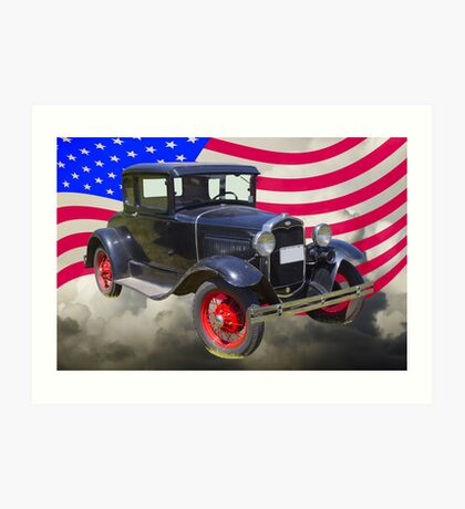 Antique Black Ford Model A Roadster With American Flag Art Print