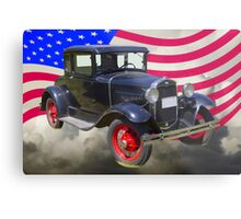 Antique Black Ford Model A Roadster With American Flag Metal Print
