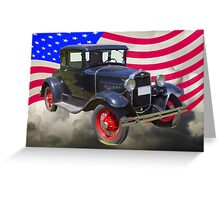 Antique Black Ford Model A Roadster With American Flag Greeting Card