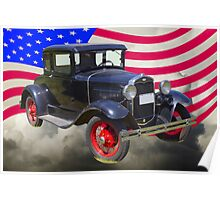 Antique Black Ford Model A Roadster With American Flag Poster