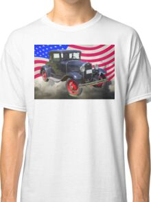 Antique Black Ford Model A Roadster With American Flag Classic T-Shirt