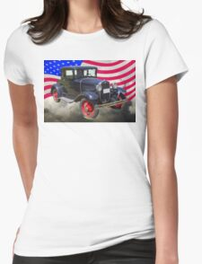 Antique Black Ford Model A Roadster With American Flag Womens Fitted T-Shirt