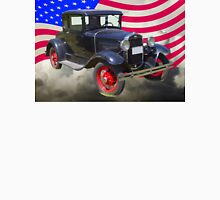 Antique Black Ford Model A Roadster With American Flag Unisex T-Shirt