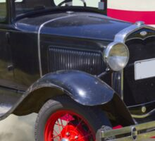 Antique Black Ford Model A Roadster With American Flag Sticker